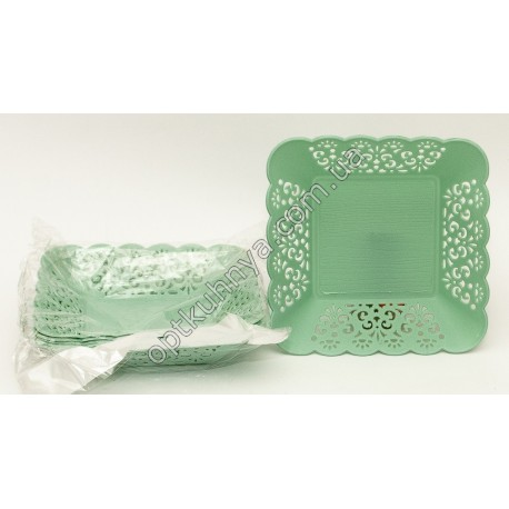 25472 ( Корзина пластик ажур квадратная 16 см. уп. 6 шт.)