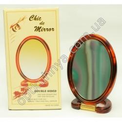 17356 (Зеркало двухсторонее авалное с пласмасовой коречневой оправой р/р 8 )