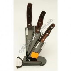 13331 (Набор ножей с деревянной руской стал на подствке 3шт +экономка)