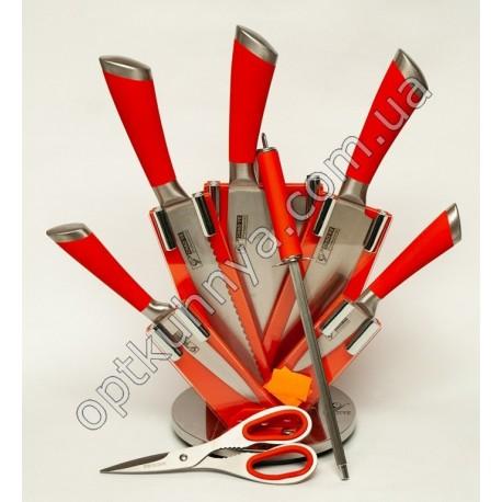 11661( Набор ножей хорошего качества на подставке 5 шт +ножницы +муссат)