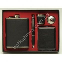21882 ( Набор фляга + ручка, леечка к фляне, стаканчик, футляр для сигарет)