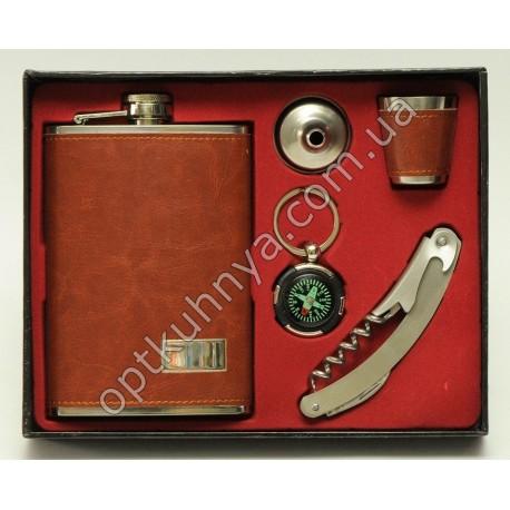 21872 ( Набор фляга +стаканчик, леечка к фляке, компас, и нож со штопором и открывашкой)